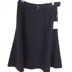 Calvin Klein Womens 6 Black Skirt A-Line Rear Zip